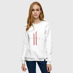 Свитшот хлопковый женский Линейка цвета белый — фото 2