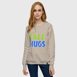 Свитшот хлопковый женский Объятия бесплатно цвета миндальный — фото 2