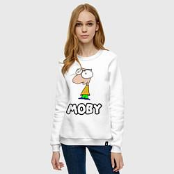Свитшот хлопковый женский Moby цвета белый — фото 2