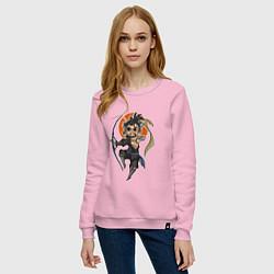 Свитшот хлопковый женский Хандзо цвета светло-розовый — фото 2