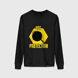 Свитшот хлопковый женский Use Protection цвета черный — фото 1