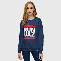 Свитшот хлопковый женский Run UAZ цвета тёмно-синий — фото 2