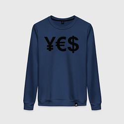 Свитшот хлопковый женский YE$ цвета тёмно-синий — фото 1