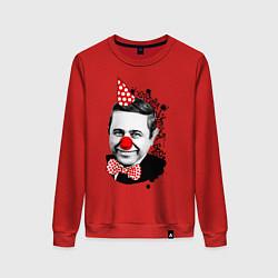 Свитшот хлопковый женский Евгений Петросян клоун цвета красный — фото 1