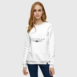 Свитшот хлопковый женский Chrysler logo цвета белый — фото 2