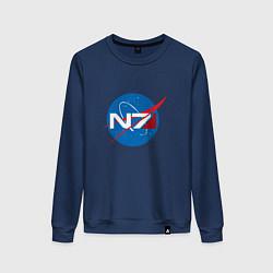 Свитшот хлопковый женский NASA N7 цвета тёмно-синий — фото 1