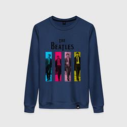 Свитшот хлопковый женский Walking Beatles цвета тёмно-синий — фото 1