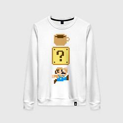 Свитшот хлопковый женский Любитель кофе Марио цвета белый — фото 1