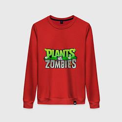 Свитшот хлопковый женский Plants vs zombies цвета красный — фото 1