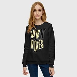 Свитшот хлопковый женский Guns n Roses: cream цвета черный — фото 2