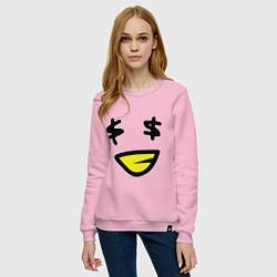 Свитшот хлопковый женский Смайл - Бакс цвета светло-розовый — фото 2