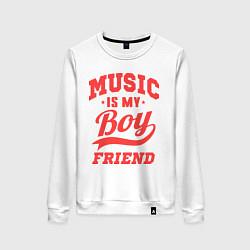Свитшот хлопковый женский Music is my boyfriend цвета белый — фото 1