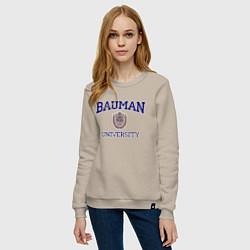 Свитшот хлопковый женский BAUMAN University цвета миндальный — фото 2