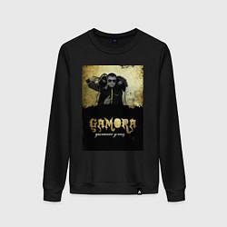 Свитшот хлопковый женский Гамора: дыхание улиц цвета черный — фото 1