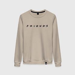 Свитшот хлопковый женский Logo Friends цвета миндальный — фото 1