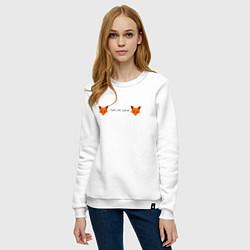 Свитшот хлопковый женский Лисиськи Лисы цвета белый — фото 2