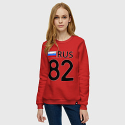 Свитшот хлопковый женский RUS 82 цвета красный — фото 2