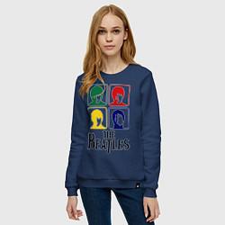 Свитшот хлопковый женский The Beatles: Colors цвета тёмно-синий — фото 2