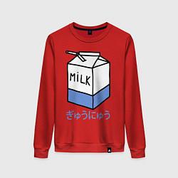 Свитшот хлопковый женский White Milk цвета красный — фото 1