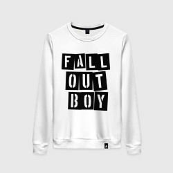 Свитшот хлопковый женский Fall Out Boy: Words цвета белый — фото 1