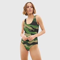 Купальник-боди 3D женский Камуфляж: хаки/зеленый цвета 3D — фото 2