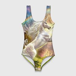 Купальник-боди 3D женский Радужный единорог цвета 3D — фото 1