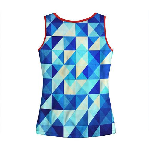 Женская майка без рукавов Синяя геометрия / 3D-Красный – фото 2