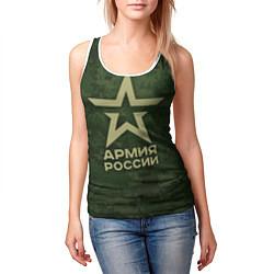 Майка-безрукавка женская Армия России цвета 3D-белый — фото 2