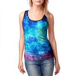 Майка-безрукавка женская Голубая вселенная цвета 3D-черный — фото 2