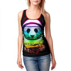 Майка-безрукавка женская Панда космонавт цвета 3D-красный — фото 2