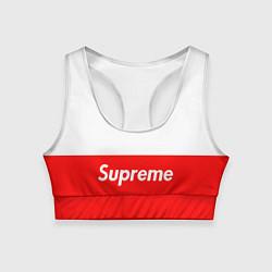 Топик спортивный женский Supreme: White & Red цвета 3D — фото 1