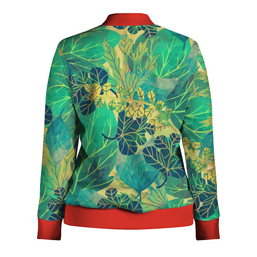 Женская олимпийка Узор из листьев / 3D-Красный – фото 2