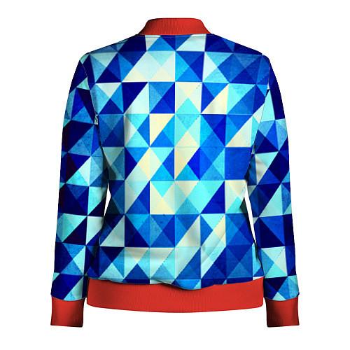 Женская олимпийка Синяя геометрия / 3D-Красный – фото 2