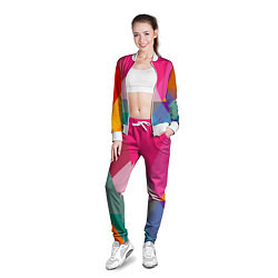 Олимпийка женская Разноцветные полигоны цвета 3D-белый — фото 2