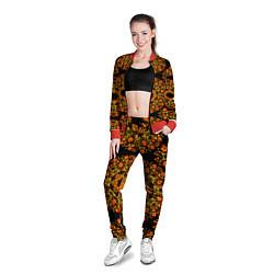 Олимпийка женская Хохлома Роспись цвета 3D-красный — фото 2