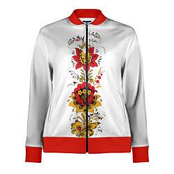 Олимпийка женская Хохлома: цветы цвета 3D-красный — фото 1
