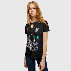 Женская 3D-футболка с принтом Космический жонглер, цвет: 3D, артикул: 10117670003229 — фото 2