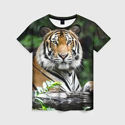 Футболка женская Тигр в джунглях цвета 3D-принт — фото 1