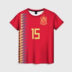 Футболка женская Сборная Испании: Рамос ЧМ 2018 цвета 3D — фото 1