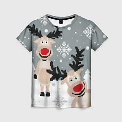 Женская 3D-футболка с принтом Свитер с оленями, цвет: 3D, артикул: 10165883703229 — фото 1