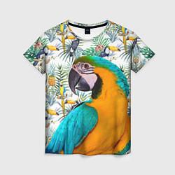 Футболка женская Летний попугай цвета 3D — фото 1
