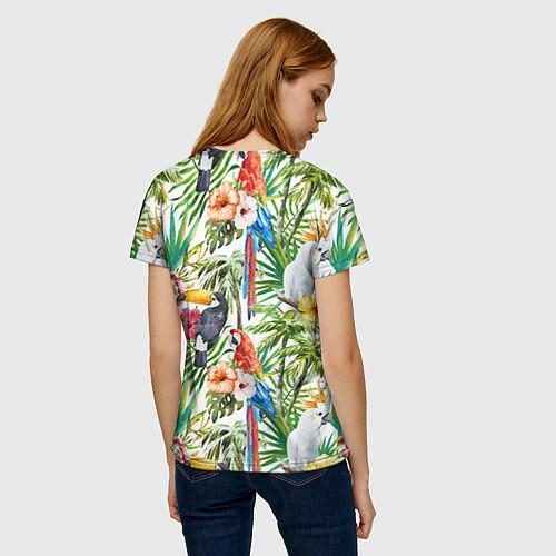 Женская футболка Попугаи в тропиках / 3D – фото 4