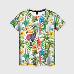 Женская футболка Попугаи в тропиках