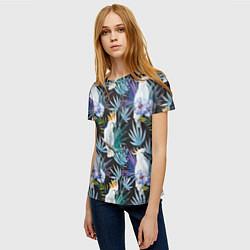 Женская 3D-футболка с принтом Тропические попугаи, цвет: 3D, артикул: 10065275303229 — фото 2