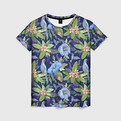 Женская 3D-футболка с принтом Голубые попугаи, цвет: 3D, артикул: 10065279503229 — фото 1