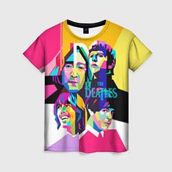 Футболка женская The Beatles: Poly-art цвета 3D-принт — фото 1