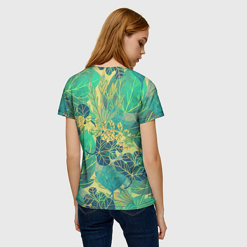 Женская футболка Узор из листьев / 3D – фото 4
