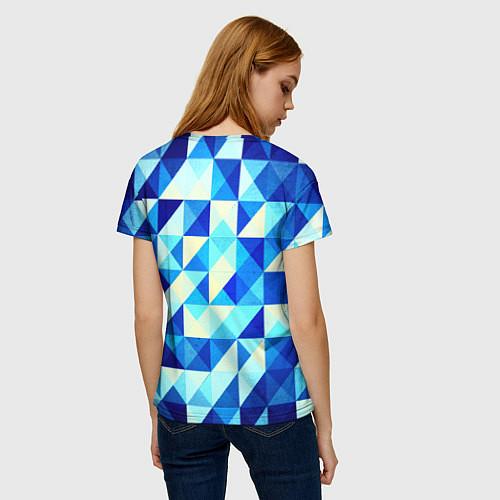 Женская футболка Синяя геометрия / 3D – фото 4