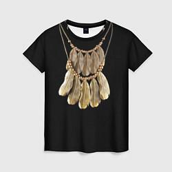 Футболка женская Золотые перья цвета 3D — фото 1
