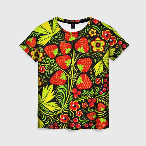 Женская футболка Хохлома: земляника